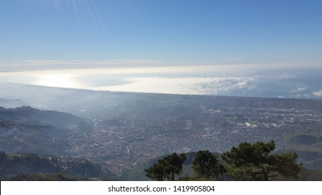panoramic view of the Versilia sea from the Apuan Alps