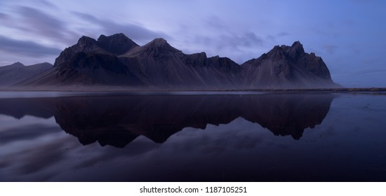 Panoramic view to Vestrahorn with reflection, Iceland