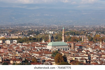 panoramic view of VICENZA city in Northen Italy and the famous monument called BASILICA PALLADIANA. This name comes from the italian Architect Andrea Palladio