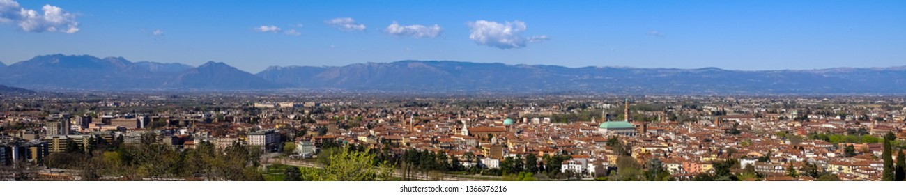 Panoramic view of Vicenza fron Monte Berico. Gigapixel landscape. Vicenza, Veneto, Italy. 26 March 2019