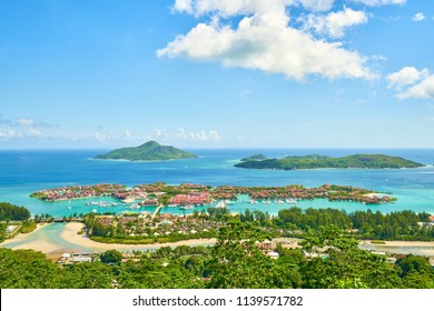 Panoramic view of Victoria and Eden Islands, Mahe, Seychelles