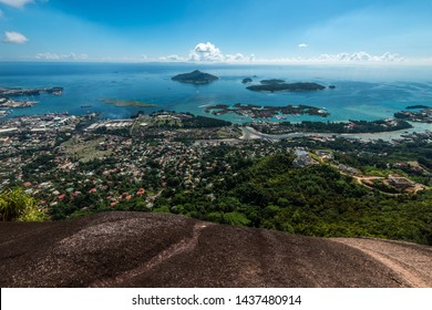 Panoramic view of Victoria and Eden Islands, Mahe, Seychelles.