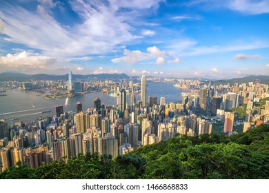 Panoramic view of Victoria Harbor and Hong Kong skyline in China