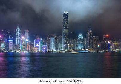 panoramic view of victoria harbor at night in Hong Kong,China.