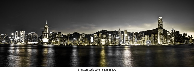 Panoramic View of Victoria Harbour Hong Kong