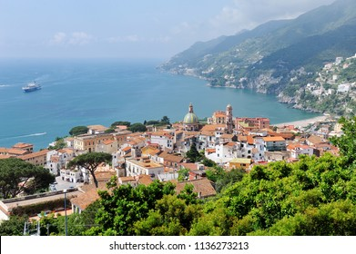 Panoramic view of Vietri sul Mare, the first town on the Amalfi Coast, with the Gulf of Salerno, province of Salerno, Campania, southern Italy