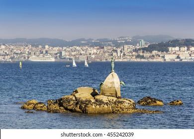 Panoramic view of Vigo city view from Cangas do Morrazo