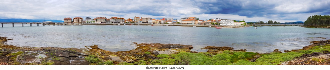 Panoramic view of Vilanova de Arousafishing village of Galicia, Spain