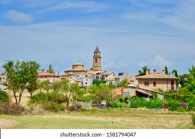 The panoramic view to the village of Adahuesca - Aragon, Spain