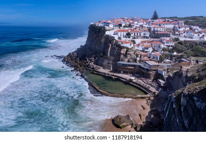 Panoramic view of the village Azenhas do Mar. Colares. Portugal