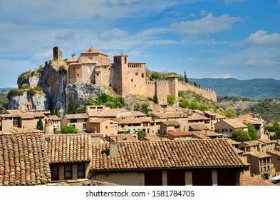 The panoramic view to the village of Alquézar  in the province of Huesca, Spain