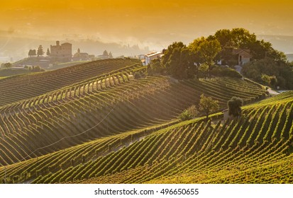 Panoramic view of vineyards in Langhe region with Grinzane Cavour Castle