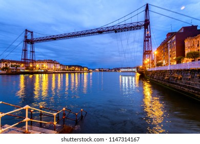 panoramic view of vizcaya bridge in Basque country, Spain