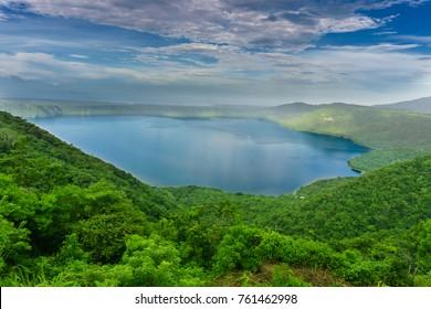 Panoramic view of volcanic Lagoon. Laguna de Apoyo in Masaya, Nicaragua