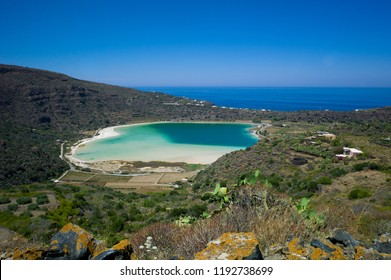 Panoramic view of a volcanic thermal lake - Venere Lake -  Pantelleria Island, Sicily, Italy