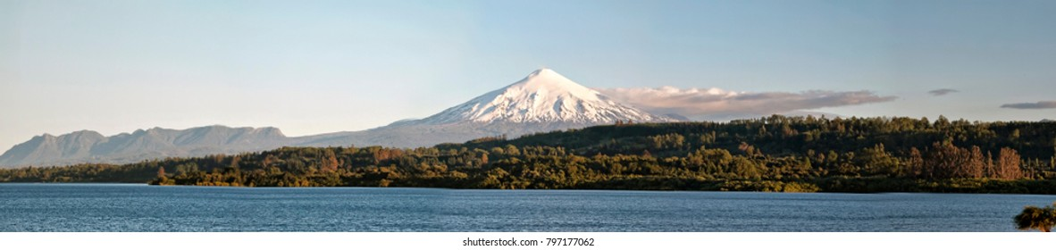 Panoramic View of Volcano, Forest, and Lake (Pucon, Chile).