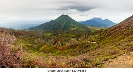 Panoramic view of the volcano and wooded hills, Indonesia