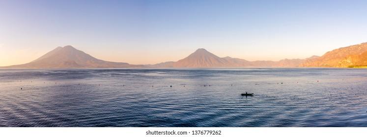 Panoramic view at the Volcanos Atitlan,San Pedro and Toliman with Atitlan lake - Guatemala