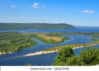 Panoramic View of Volga River near Samara, Russia from helipad. Volga is the biggest river in Europe.