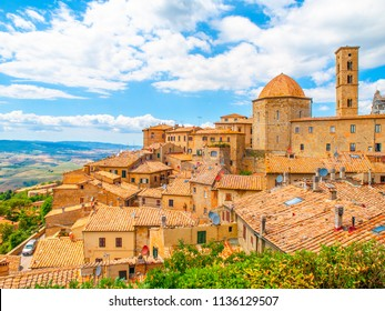 Panoramic view of Volterra - medieval Tuscan town with old houses, towers and churches, Tuscany, Italy.