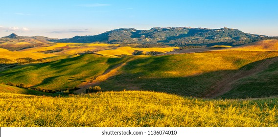 Panoramic view of Volterra and surronding Tuscan hilly landscape, Tuscany, Italia.