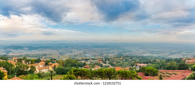 Panoramic view from Volterra to Tuscany countryside - Italy