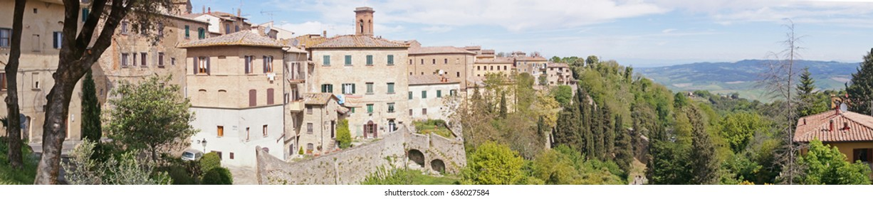 Panoramic view to Volterra which is a walled mountaintop town in Tuscany region of Italy