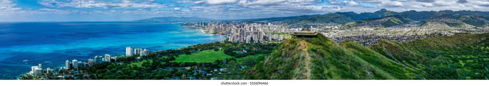 Panoramic view of Waikiki from Diamond Head in Oahu Hawaii