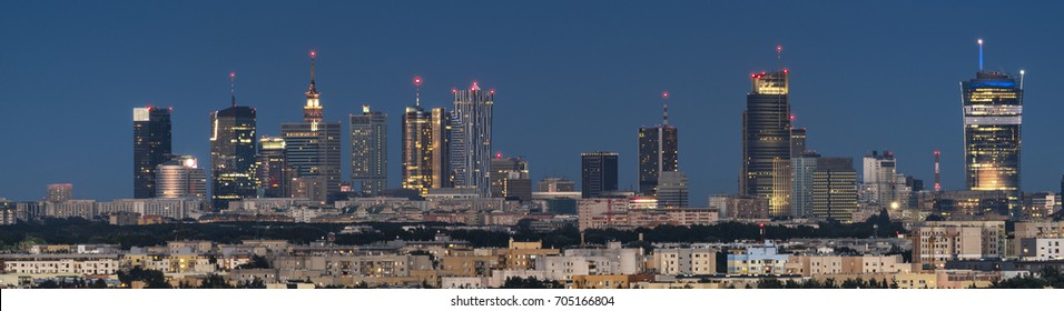 Panoramic view of Warsaw city downtown during the night Poland,