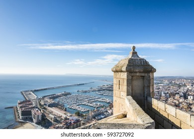 Panoramic view from the watchtower Santa Barbara castle in Alicante. Valencia province. Spain.