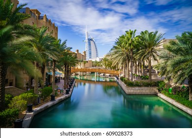 Panoramic view of water channel at Dubai's old town souk - long exposure
