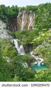 Panoramic view of waterfalls in Plitvice Lakes National Park in Croatia