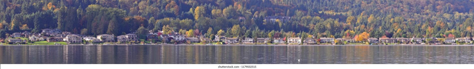 Panoramic View of Waterfront Homes in Lake Sammamish State Park, WA-USA