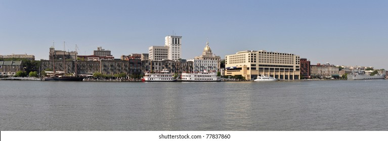 A panoramic view of the waterfront of Savannah, Georgia.