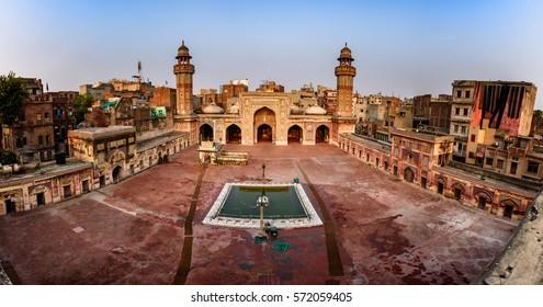 Panoramic view of Wazir Khan mosque in Lahore, Pakistan.