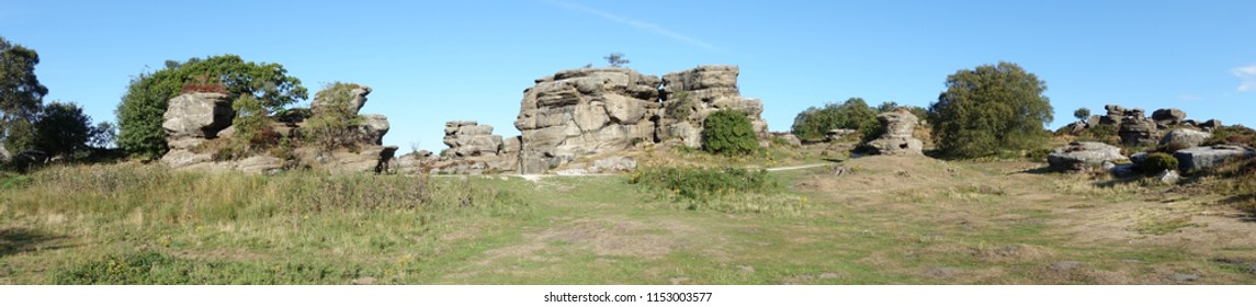A panoramic view of the weird but wonderful rock formations at Brimham balancing rocks, Harrogate, north Yorkshire.