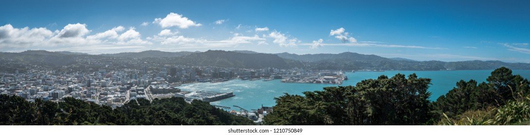 Panoramic View of Wellington Harbour from Mount Victoria, Wellington, New Zealand