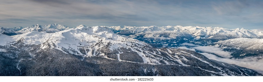 Panoramic view of Whistler Mountain in winter after a snow storm, from Blackcomb Mountain