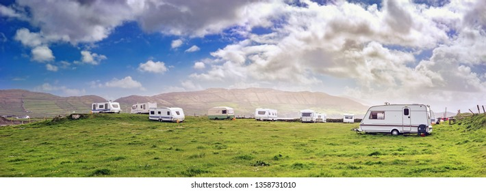 Panoramic view with white campers in a  resort of south west Ireland