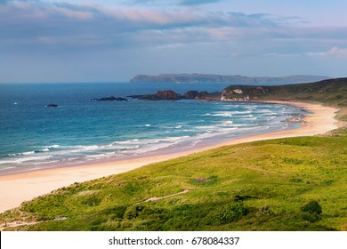 panoramic view of White Park Bay near Ballycastle, County Antrim along the Giants Causeway Coastal Route, Northern Ireland