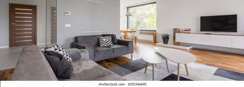 Panoramic view of white tv room with gray sofa, coffee table and carpet