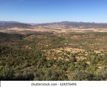 Panoramic view of a wild area north of Fez, Morocco