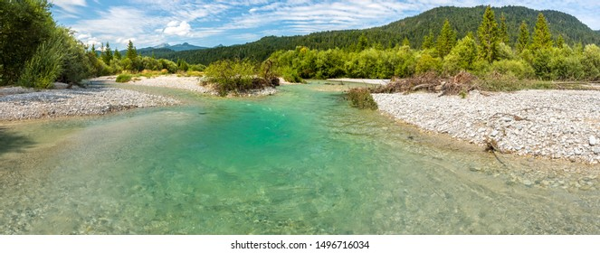 panoramic view to wild river Isar in Bavaria, Germany