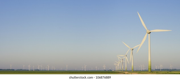 panoramic view of a wind turbine park in the Netherlands