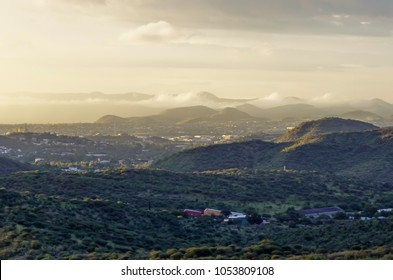Panoramic view of Windhoek at sunset
