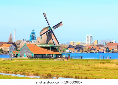Panoramic view of windmills in Zaanse Schans, traditional village in Holland