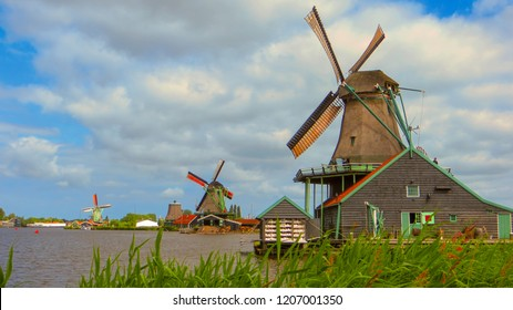 Panoramic view of windmills in Zaanse Schans, traditional village in the Netherlands.