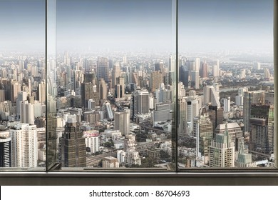 panoramic view of  window and nice big city
