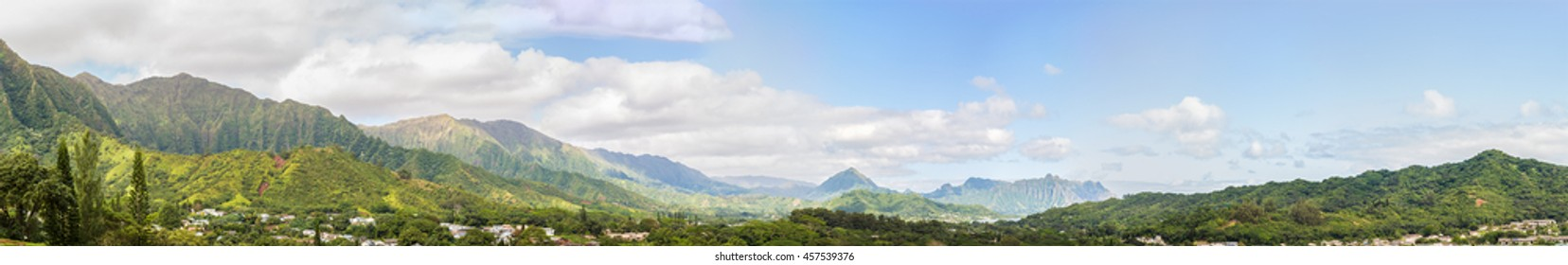 Panoramic view of Windward Oahu, Hawaii, from Kaneohe