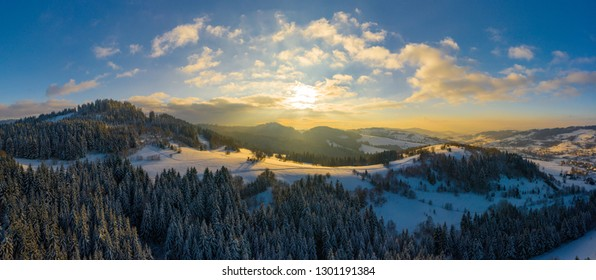 Panoramic view of the winter mountains. View from above. Landscape photo captured with drone. Silesian Beskids, Poland, Europe.